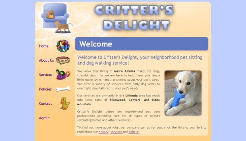 Critters Delight website