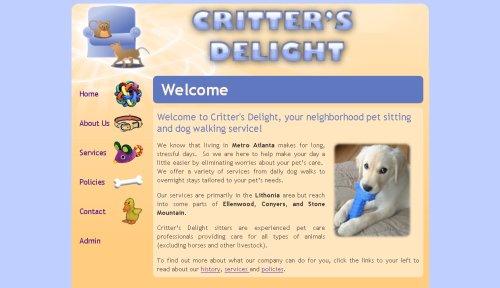 Critters Delight website