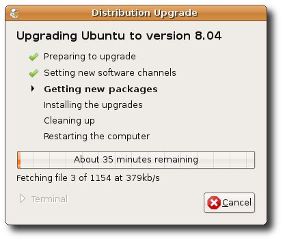 Ubuntu 8.04 upgrade